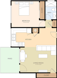 One Bedroom One Bath - Ednamary Floor Plan at Latham Square Leasing Center, Mountain View, 94041