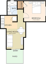 1 Bedroom 1 Bathroom - Greenwood Floor Plan at Latham Square Leasing Center, Mountain View, CA