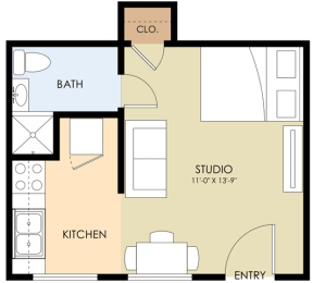 studio one bath - Latham Floor Plan at Latham Square Leasing Center, Mountain View