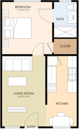 One Bedroom One Bath - Latham Gardens Floor Plan at Latham Square Leasing Center, Mountain View, CA, 94041