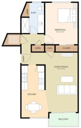 one bedroom one bath - Melrose Floor Plan at Latham Square Leasing Center, Mountain View, California