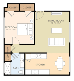 One Bedroom One Bath - Miller Floor Plan at Latham Square Leasing Center, Mountain View, CA, 94041
