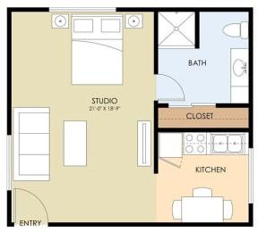 Studio 0 Bed 1 Bath Floor Plan at Latham Square Leasing Center, Mountain View, California