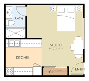 Studio - Park Rich Floor Plan at Latham Square Leasing Center, Mountain View, CA, 94041