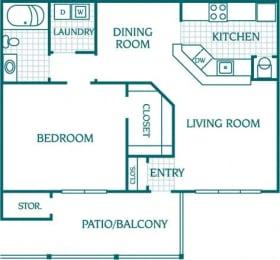 Floor Plan 1 Bedroom 1 Bath Deluxe