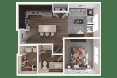 Lofts at Jefferson Station 1 Bedroom 1 Bath Floor Plan