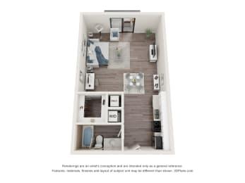 Studio Floor Plan at Bay Village1, Palmetto Bay, FL, 33157