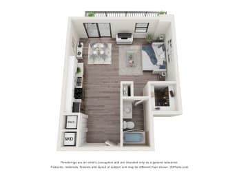 0 Bed 1 Bath Floor Plan at Bay Village1, Palmetto Bay, FL