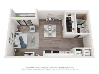 0 Bedroom 1 Bathroom Floor Plan at Bay Village1, Palmetto Bay, 33157