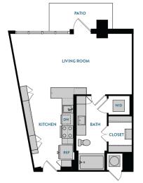 Studio S2 Floorplan,at The Hamilton, Dallas, TX