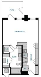 Studio S1 Floorplan,at The Hamilton, Dallas, TX 75226