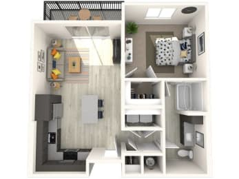 A2 Floor Plan at Paradise @ P83 Apartments, P.B. BELL Assets, Peoria, 85382