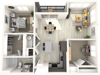 B3 Floor Plan at Paradise @ P83 Apartments, P.B. BELL Assets, Peoria, AZ, 85382