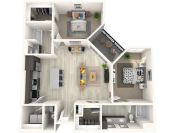 B5 Floor Plan at Paradise @ P83 Apartments,  P.B. BELL Assets, Peoria