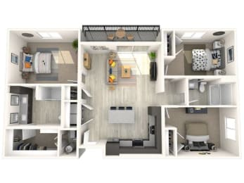 C2 Floor Plan at Paradise @ P83 Apartments, P.B. BELL Assets, Arizona, 85382