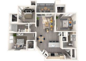 C1 Floor Plan at Grayson Place Apartments, P.B. BELL Assets Management, Goodyear