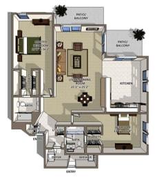 Bahamas floor plan at The Villages of Banyan Grove Apartments in Boynton Beach