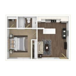 One Bedroom, One Bathroom Floor plan 3D furnished image