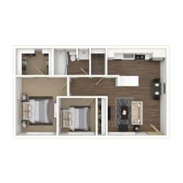 Two Bedroom, One Bathroom Floor plan 3D furnished image