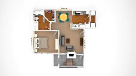 1 Bedroom Floor Plan  A1 at Stoneleigh on Cartwright Apartments, J Street Property Services, TX