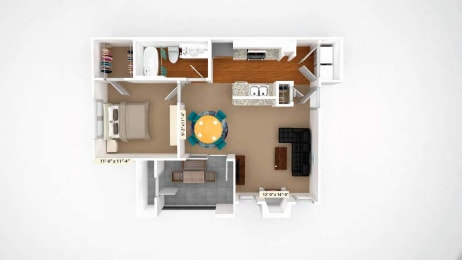 1 Bedroom Floor Plan A2 at Stoneleigh on Cartwright Apartments, J Street Property Services, Mesquite, TX