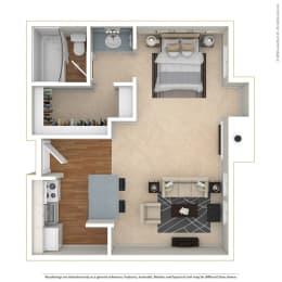 Studio 0 Bed 1 Bath Floor Plan at Twenty 2 Eleven Apartments, Canoga Park, CA, 91306