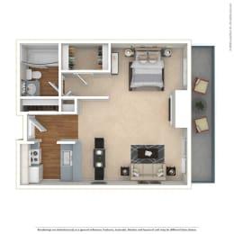 STUDIO - LARGE 0 Bed 1 Bath Floor Plan at Twenty 2 Eleven Apartments, Canoga Park, CA