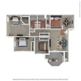 3 Bedroom / 2 Bath Floor Plan at The Hills at Quail Run, Riverside