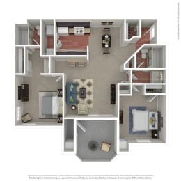 2 Bedroom/ 2 Bath Floor Plan at The Hills at Quail Run, Riverside, 92507