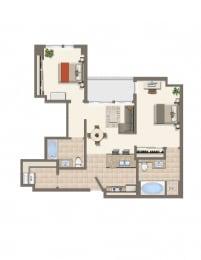 Floor Plan  1b-Den-A