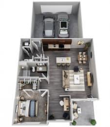One Bedroom, Den, 1st Floor, 2 Car Garage