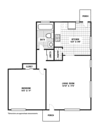 Floor Plan 1 Bedroom 1 Bath B