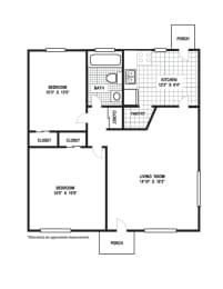 Floor Plan 2 Bedroom 1 Bath B