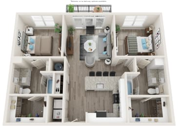 B1 Floor Plan at Link Apartments® Linden, Chapel Hill, NC, 27517