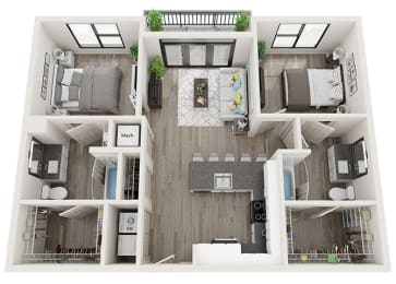 B1 Floor Plan at Link Apartments® Innovation Quarter, Winston Salem, NC, 27101