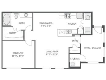 A1 Floor Plan at Victoria Arbors Apartment Homes