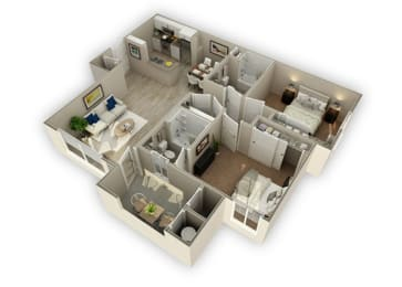 2x2 - Unit B1 - 1032 sq ft optimized at The Landing at College Square, CA 95823