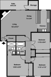 3 Bed, 2 Bath Floor Plan at The Village at Iron Blossom, Reno, NV, 89511