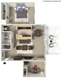 One Bedroom A4 Floor Plan at Stoneridge Apartment Homes Upland 91786