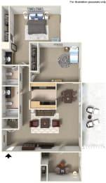 Two Bedroom B2 Floor Plan at Stoneridge Apartment Homes Upland, CA, 91786