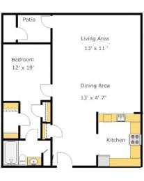 A3 1 Bed 1 Bath Floor Plan at Del Norte Place Apartment Homes, California