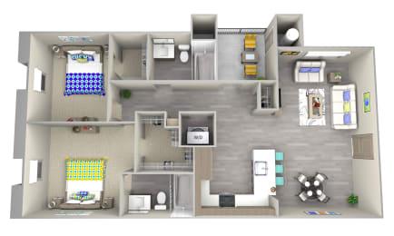 coast b1 Floor Plan at Las Positas Apartments, Camarillo, California