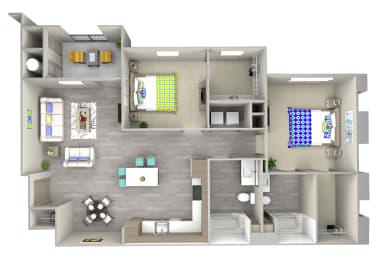 ocean b5 Floor Plan at Las Positas Apartments, Camarillo