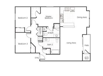 C1 floorplan three bedrooms two bathrooms at Bella Vista at Elk Grove Apartments, Elk Grove 95758
