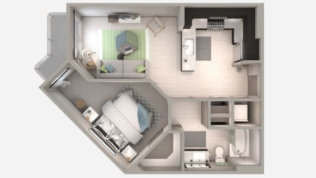 One Bedroom A1 Floor Plan at Centra