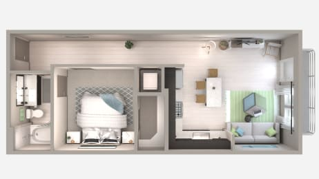 One Bedroom A2 Floor Plan at Centra