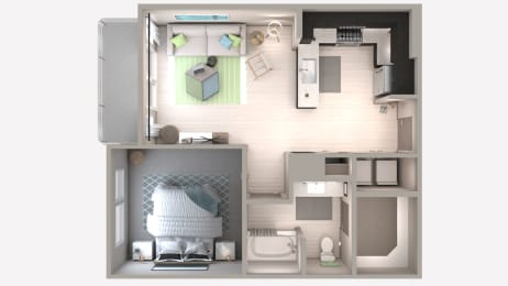 One Bedroom A3 Floor Plan at Centra