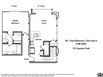 A3-One Bedroom One And Half bathroom Floor Plan at Pacific Place, California, 94014