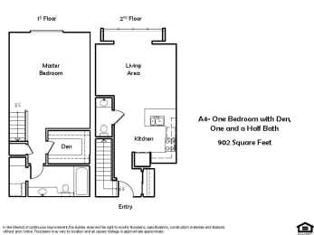 A4 C 1 Bed 1.5 Bath Floorplan at Pacific Place, Daly City, CA, 94014