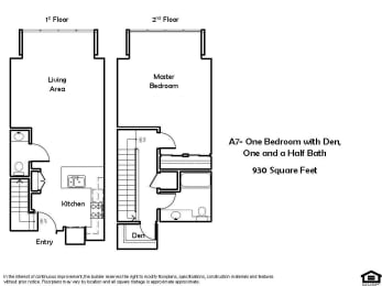 A7 1 Bed 1.5 Bath Floorplan at Pacific Place, CA 94014